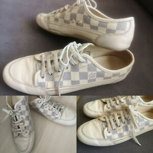 Louis Vuitton Damier Azur Sneakers LV Leather Canvas Capucine Sneakers EU 39