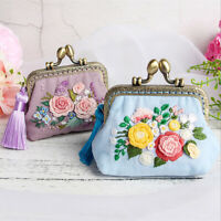 Floral Embroidery DIY Mini Wallet Kit Cross Stitch Coin Purse Needlework Sewing