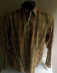 BUGATCHI Uomo Checkered 100% Cotton LS Shirt SZ Medium Multicolor