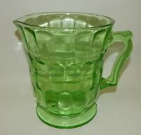 Vintage Hazel Atlas Green Depression Glass Colonial Honeycomb Pitcher