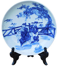 Chinese Blue & White Porcelain Elders Kids Theme Charger Plate cs2170