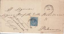 1877 10 CENTESIMI SU BUSTA DOPPIO ANN. NUM. + D.C. DA MONTELEPRE A PALERMO 1