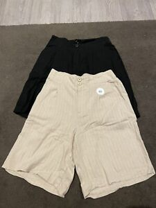 Linen Blend Striped Beige (BNWT) & Black(As New) Shorts Size 10. Pack of 2