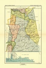 1896 map Alabama United States Indian land cessions POSTER 1