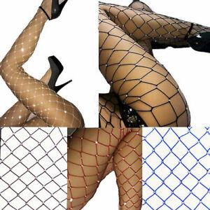 Women Crystal Rhinestone Fishnet Net Mesh Socks Stockings Tights Pantyhose Sexy