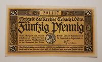 ERBACH ODENWALD NOTGELD 50 PFENNIG 1918 NOTGELDSCHEIN (9144)