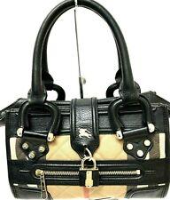 BURBERRY Manor Quilted House Check Black Leather Small Handbag Tote Bag RARE EUC