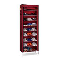 AcornFort S-202 Red Oxford Fabric 10 Tier 27 Pairs Shoe Rack Cabinet Organiser