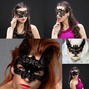 Ladies BLACK LACE Masquerade Eye Mask Gothic Fancy Dress Hen Party Halloween UK