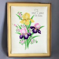 "Vtg 1950s STANLEY SATIN EASTER CARD w/ BOX Huge 9""x7"" GREETING Flowers Iris"