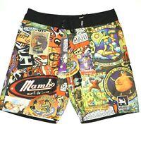 Mambo Australia All Over Mens Board Swim Shorts Trunks Size Large 36 Cartoon