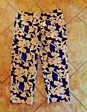 Liz Claibourne Michaela Pants Black with Tan Floral Print Sz 16