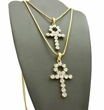 """MEN ICED OUT EGYPTIAN ANKH CROSS & CROSS PENDANT 24"""" 30"""" BOX CHAIN NECKLACE S071"""