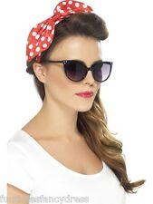 1950's Housewife Rockabilly Red & White Polka Dot Bow On Headband Fancy Dress