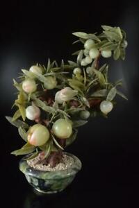Z6066: Japanese XF Stone jade/jewels Flower sculpture ORNAMENTS object art work