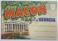VTG Old Linen Era Fold Out Envelope Postcard Souvenir Photo Set Macon, Georgia