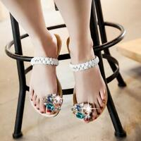 Womens Rhinestones Sandal Flip Flops Big Shiny Strap Flat Summer Chic Braid Shoe