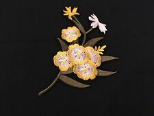 Sew on & iron on embroidery patches(cartoon spring flower- yellow)