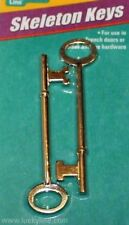 TWO Skeleton Keys 1 Flat & 1 Notched French Door Antique Desk Trunk Lucky Line