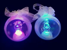 Set of 2 Glass LED Ornaments Reindeer & Snowman Multi-color Beautiful Set!