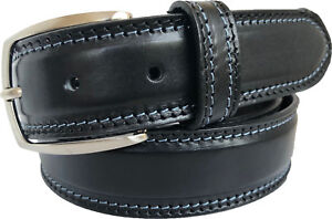 MENS 100% REAL ITALIAN LEATHER BELT BLACK WITH BLUE CONTRAST STITCHING 35MM