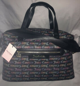 JUICY COUTURE * WEEKENDER Tote Bag RAINBOW Black BOLD WORD PLAY Faux Leather NWT