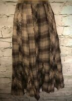 Hobbs Women's Brown Raw Edge Scruffy Check Tweed EVE Skirt UK 12 EU 40 US 8