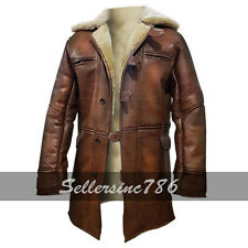 Dark Knight Rises Bane Real Shearling Genuine Leather Trench Coat / Jacket