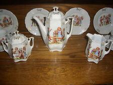 FANTASTIC ANTIQUE GERMAN CHILD'S TEA SET FOR 6-CHILDREN PLAYING