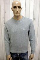 FRED PERRY Taglia XL Maglione Grigio Uomo Cashmere Casual Sweater Pullover Lana