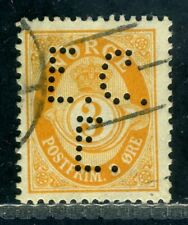 Norway scarce perfin 'E.C. / E.' in 3 ore Posthorn stamp.