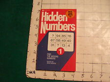 UNREAD Ace 1st ed. HIDDEN NUMBERS #1 jean andrew VERY HARD TO FIND UNUSED 1974