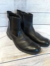 A. Cellini Mens Boots Black Leather Slip On Zip Up ankle biker shoes Size 9