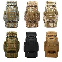 Military Tactical Army Backpack Rucksack Camping Hiking Bag Trekking 90L S9M6