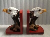 Pair of Bald Eagle Book Ends On Wooden Base  NICE