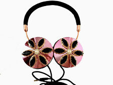 Blingustyle Iridescent crystal fashion Foldable Ear-Cup DJ headphone Black