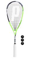 Prince Hyper Elite 500 Squash Racket + 3 Dunlop Pro Squash Balls - 2019
