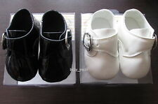 BOYS BLACK IVORY SHOES CHRISTENING WEDDING PARTY BUCKLE SOFT PRAM SHOES NEW