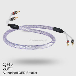 1 x 3.0m QED GENESIS SILVER SPIRAL Speaker Cable AIRLOC Forte Plugs Terminated