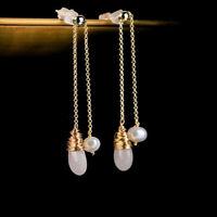 Pearls Drop Long Chain Tassel Dangle Earrings Women's Fashion Jewelry Accessory