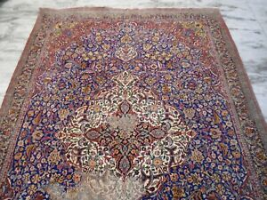 vintage kashmir wool rug carpet medallion blue indopersian 6x9 ft