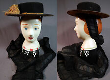 Antique Gold Bullion Embroidered Bavarian German Austrian Folk Costume Hat Vtg