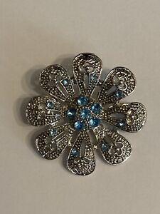 Metal Flower Brooch Blue Stones Pin Back 35mm