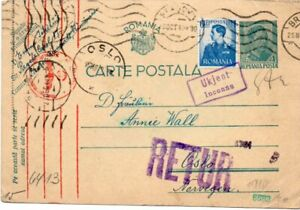 ROMANIA: Uprated PS to Norway 1940. Censored. Returned.