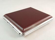pocket cigarette case metal faux leather tin holder tobacco smoking box brown