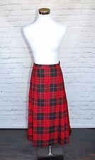 Pendleton Skirt  Red Tartan Plaid Long Modest Pleated Virgin Wool Size 16 #10