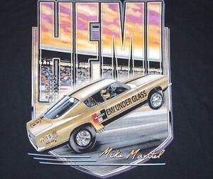 Hemi Under Glass Wheelstander Black T-Shirt Mopar Hurst NHRA Drag Race Cuda