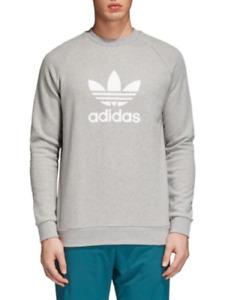 NEW Adidas Originals Mens M,XL Trefoil Fleece Sweatshirt CY4573 Grey/White