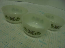 Set of 3 Anchor Hocking Custard Bowls Cups Meadow Green 434 Fire King Oven Proof