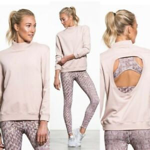 VARLEY Rochester 100 % cotton open back sweatshirt in blush size Small